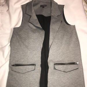 Topshop Long Fall Grey Vest sz 2